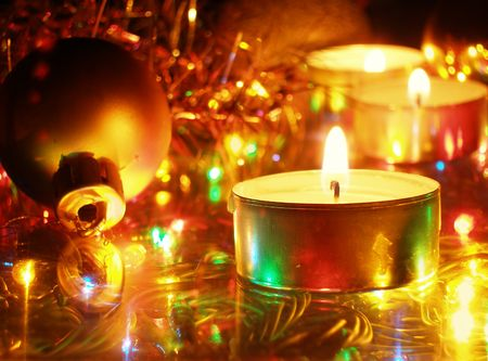 Christmas decoration -  candles and ball photo