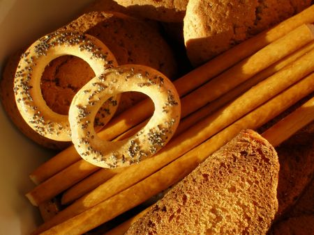 Sweet cookies, sticks and crackers close-up Stock Photo - 716341