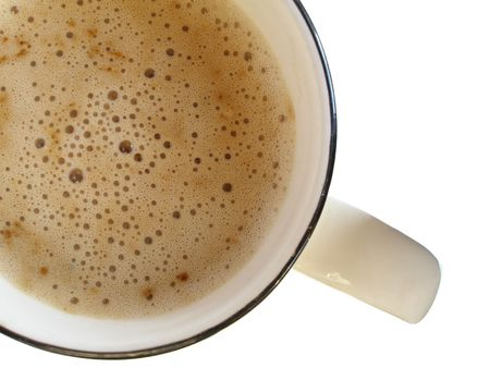 musetti: Coffee cup with froth (view from above) isolated over white background Stock Photo