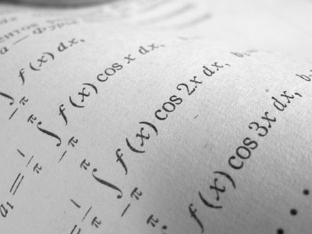 logarithm: Page of higher mathematics textbook super close-up black and white