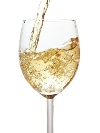 taster: Pouring white wine isolated over whte background