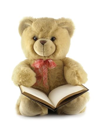 Teddy bear with a book isolated over a white background        photo