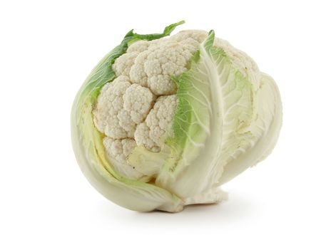 head of cauliflower: Head of cabbage cauliflower isolated over a white background