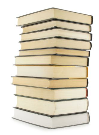 Hardcover books isolated over white background photo