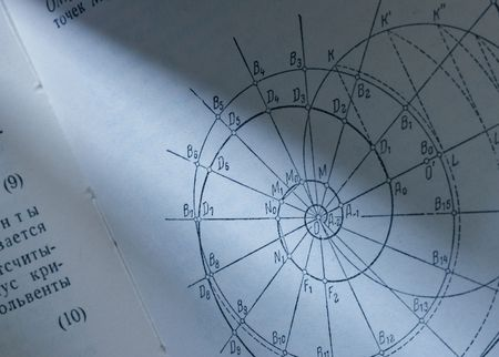 logarithm: Math spiral, page of texbook close-up toned in blue color Stock Photo