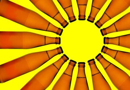 botellas de cerveza: El s�mbolo del sol a partir de botellas de cerveza  Foto de archivo