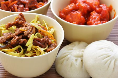 plateful: Lots of various chinese dishes close-up Stock Photo