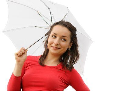 beatitude: Pretty girl with white umbrella isolated over a white background