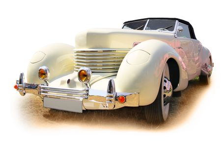 Vintage roadster isolated over a white background photo