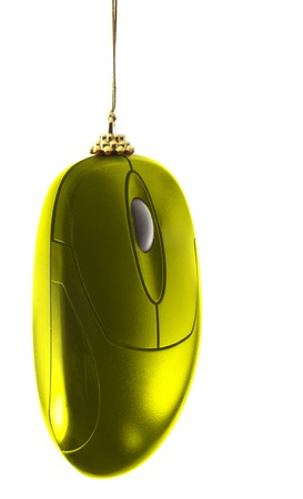Christmas decoration - gold computer mouse isolated over white. Notice -  2008 is the year of the mouse by chinese calendar photo
