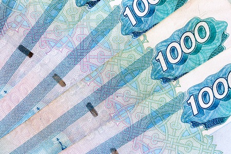 roubles: Russian 1000 roubles bank notes close-up