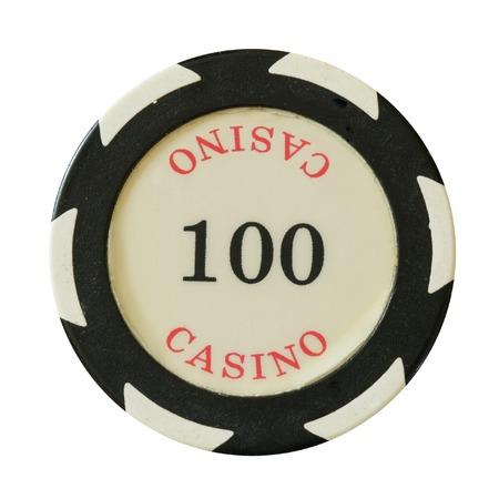 100 dollars casino chip isolated over white background photo