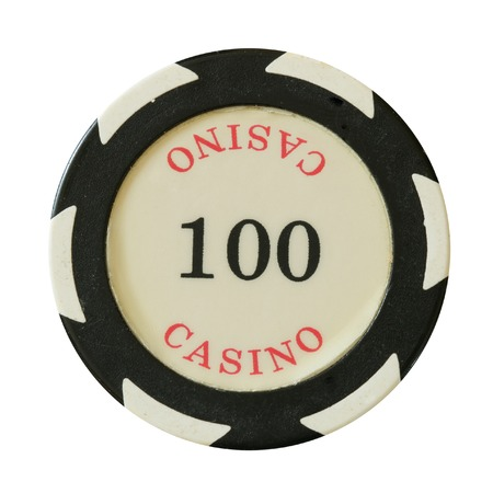 100 dollars casino chip isolated over white background photo