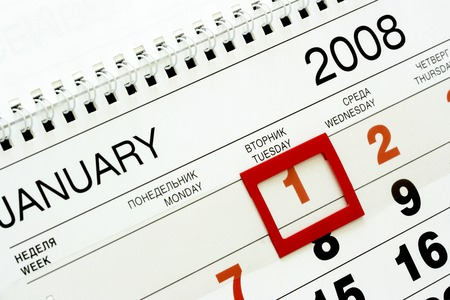 0 1 year: Sheet of wall calendar with red mark on 1-st January 2008 Stock Photo