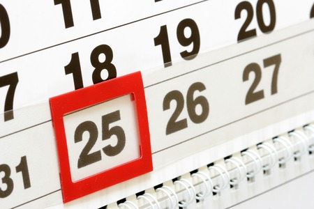 2 5 months: Sheet of wall calendar with red mark on 25 december Stock Photo