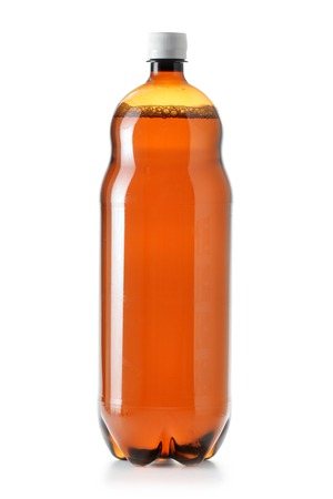 Two litres plastic beer bottle isolated over white backgrouns  photo