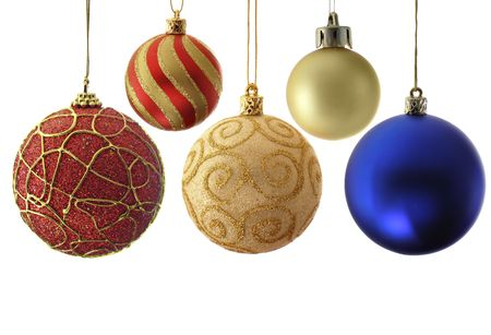 bedeck: Variety christmas balls isolated over a white background Stock Photo