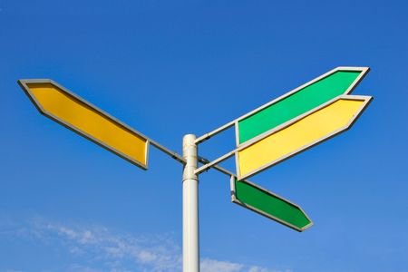 Signpost with four direction arrow with blank space for your own text against a blue sky photo