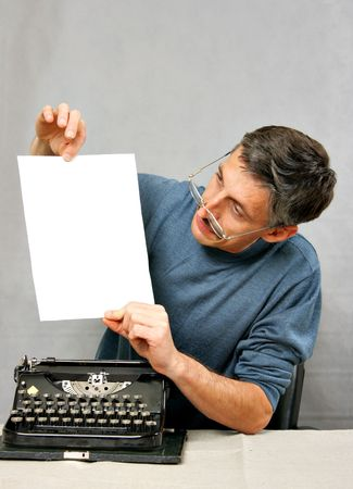 Man show blank white sheet, place your own text here photo
