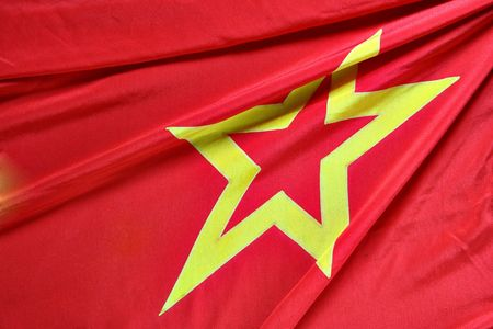 Part of USSR flag with folds close-up Stock Photo - 2016629