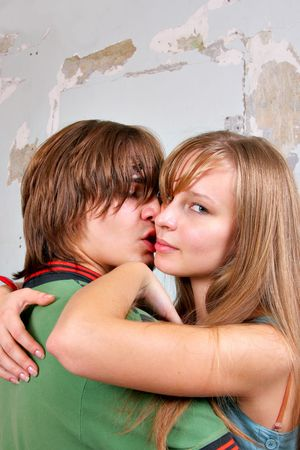 passionate kissing: Portrait of young attractive couple close up