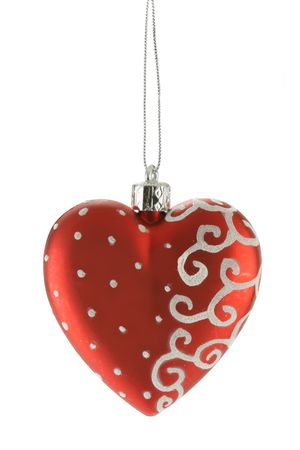 bedeck: Red heart - christmas ball isolated over white background