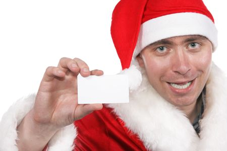 Businessman clothed in costume of Santa Claus show blank visiting card isolated over white background. Focus on the hand and card! photo