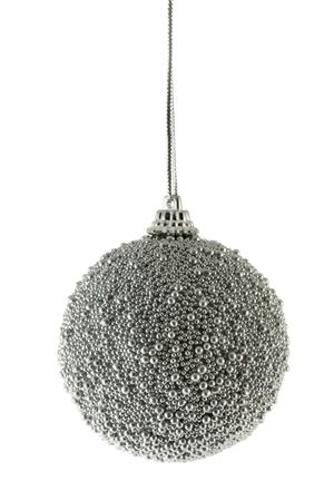 bedeck: Silver Christmas ball isolated over white background