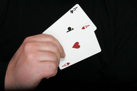 suited up: Two aces - highest starting hand in txas holdem poker Stock Photo