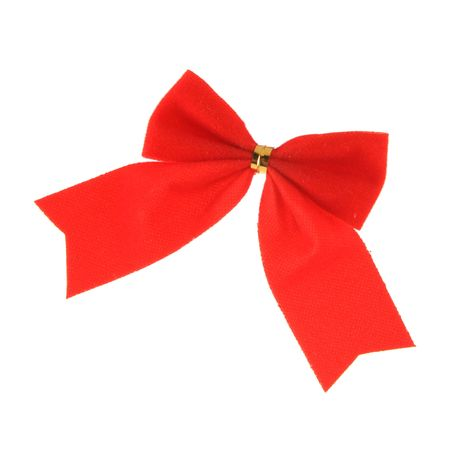 Red bow close-up isolated over white background photo