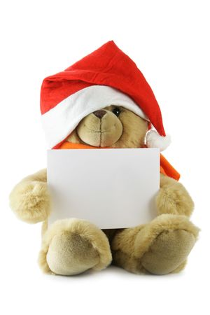 Teddy bear with blank sheet for your own text hat isolated over white background Stock Photo - 2183084