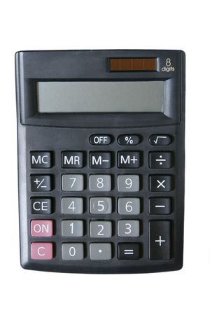 Calculator close up isolated over white background photo