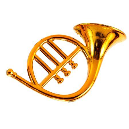 aerophone: Gold trumpet (decoration) isolated over white background Stock Photo
