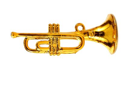 aerophone: Gold trumpet isolated over white background Stock Photo