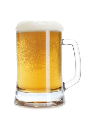 froth: Beer mug with froth isolated over a white background