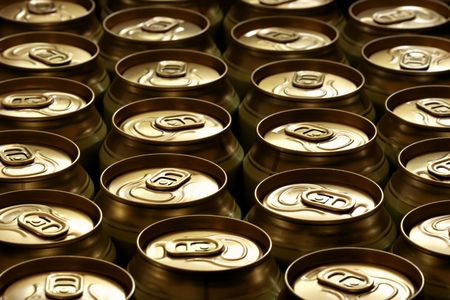 Lots of beer cans close-up, may be used as background