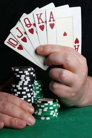 card player: Hand of card player with royal flush