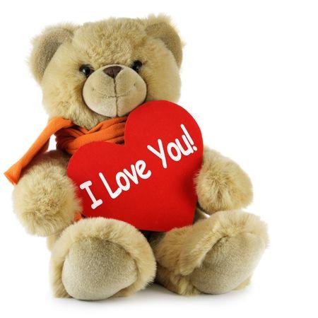 osos de peluche: Osito de peluche y gran coraz�n rojo con el texto