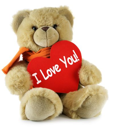 big and small: Teddy bear and big red heart with text