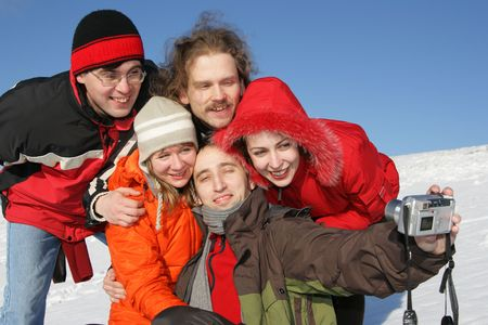 Five young friends taking a selfportrait in winter Stock Photo - 2481926