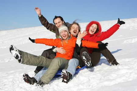 Friends to drive in a sledge on flank of hill Stock Photo - 2481924