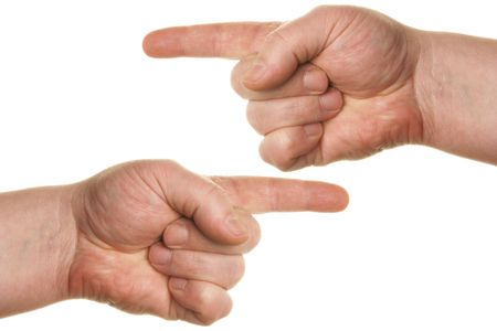 Pointing human hands isolated over white background photo