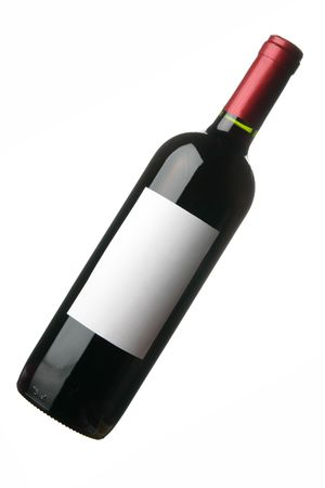 Bottle of red wine with blank label isolated over white background photo