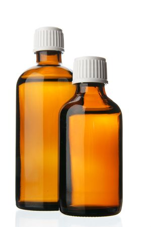 linctus: Two small bottles with drug isolated over white background Stock Photo