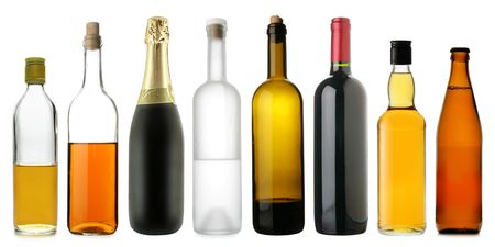 corked: Lots bottles of various alcoholic drinks isolated over white background
