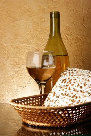 seder: Still-life with wine and matzoh (jewish passover bread)