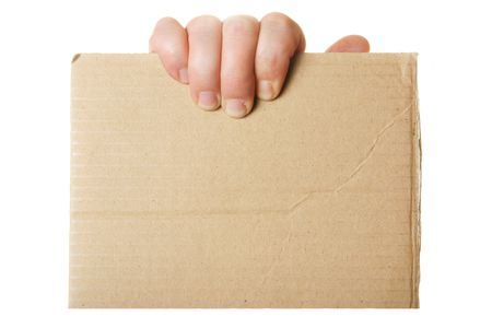 textfield: Hand holding blank cardboard, put your own text here