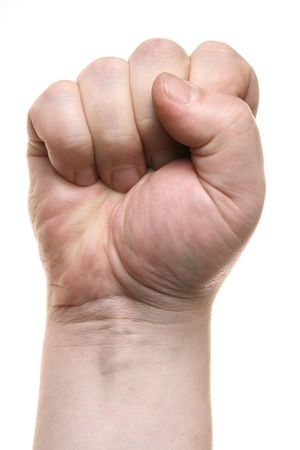 Clenched fist close-up isolated over white background Stock Photo - 2900814