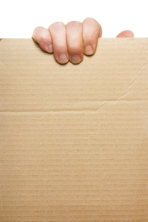 Hand holding blank cardboard, put your own text here photo