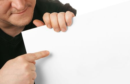 textfield: Man holding white blank cardboard, put your own text here